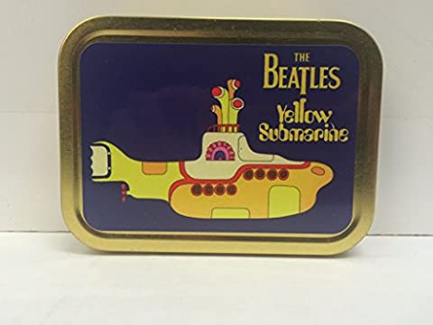 The Beatles Yellow Submarine 60's Music Record. Album cover. Film. Song. Classic, Great, British, English, Liverpool. In the town where I was born, lived a man. Cartoon. Comic. John, Paul, Ringo and George. Gold Sealed Lid 2oz Tobacco Storage
