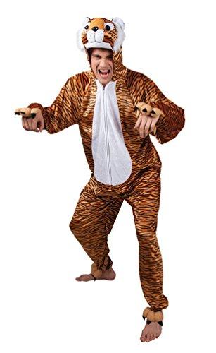 Karneval Klamotten Tiger Kostüm Herren Bageera aus Plüsch Tiger-Overall Karneval Tier-Kostüm Herren-Kostüm - Herren Tiger Halloween Kostüm
