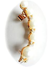 Réf052 BO.390 - Boucle D'oreille Fantaisie - Ear Cuff Perles Nacrées Métal Doré