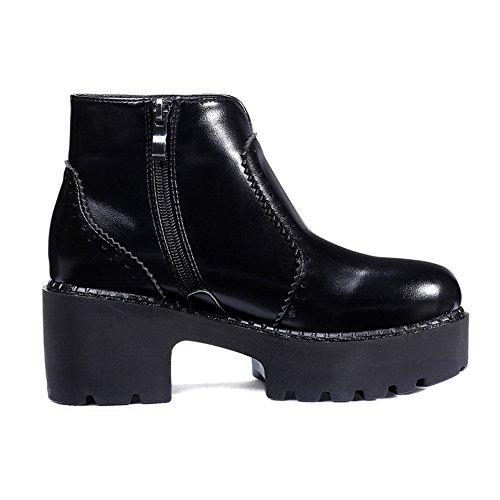 AllhqFashion Damen Reißverschluss Niedriger Absatz Niedrig-Spitze Stiefel mit Metallisch, Schwarz, 39