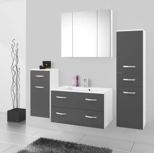 Küchen-Preisbombe Badmöbel Badezimmer Regina 5tlg Set in Grau matt + Weiss matt 80 cm Waschtisch