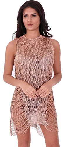 Damen Metallic Chain Knit Distressed Ladder Pullover Kleid EUR Größe 36-42 (S/M (EUR 36-38), Gold) (Knit Top Metallic)