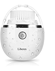 Liberex Vibrating Facial Cleansing Brush - 3 Brush Heads with 3 Modes, Waterproof, Smart Timer, Wireless Charging for Face Cleaning, Exfoliating and Massaging, Egg Shape, White