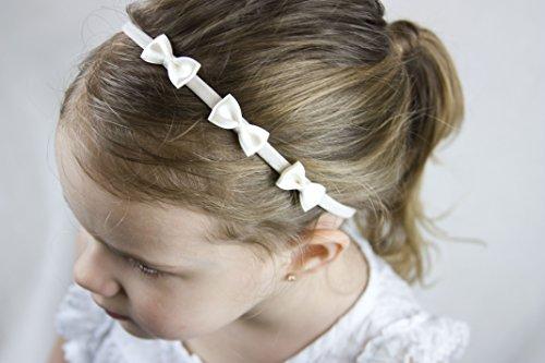Golden Beam Mädchen Haarreifen-Drei Kleinen Elfenbein Satin Bögen handgefertigt Haarband-Baby zu Kopfband für Erwachsene -