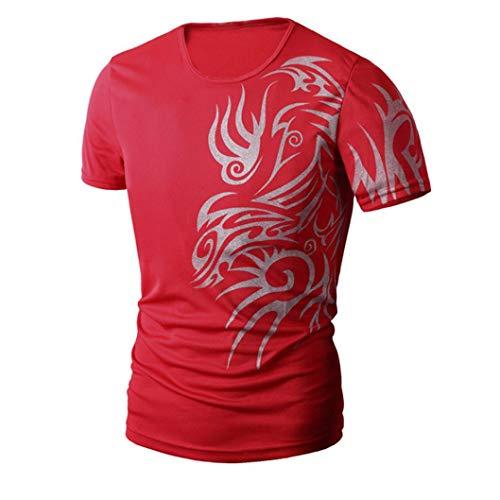 Tefamore Hommes été Impression de Mode Hommes à Manches Courtes T-Shirt (XXL, Rouge)