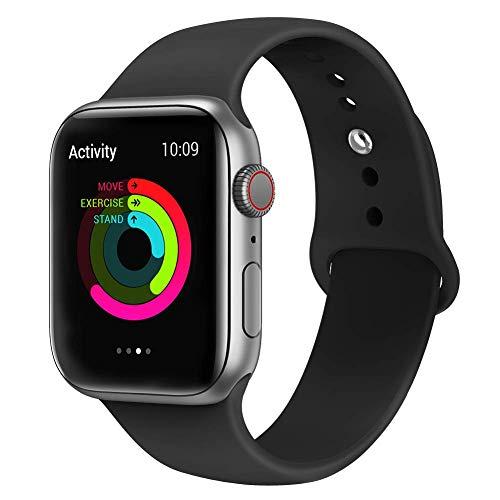 VIKATech Correa de Repuesto Compatible con Apple Watch de 44 mm 42 mm, Correa de Silicona Suave de Repuesto para iWatch Series 4/3/2/1, S/M, Black