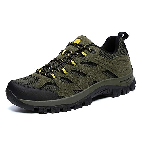 Scarpe da Escursionismo Uomo Trekking Running Stringata Sneakers Trail Antiscivolo Low Stringata Confortable Outdoor Lavoro Sportive All'aperto Basse Verde EU 45