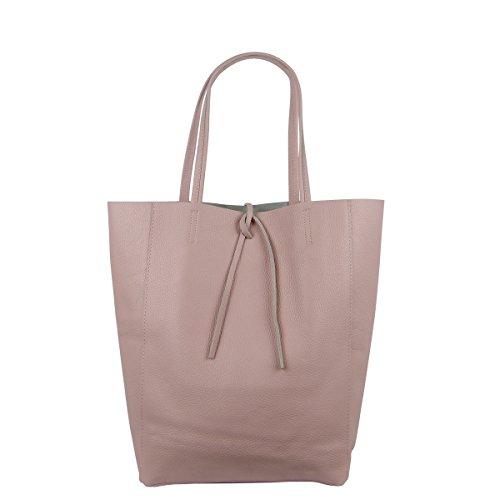 Damen Echtleder Shopper mit Innentasche in vielen Farben Schultertasche Henkeltasche (Rosa)
