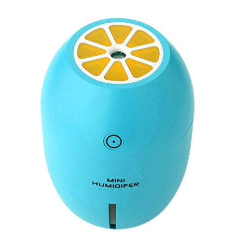 Gosear Difusor Humidificador 180ml Limón Estilo Mini Cool Niebla Aire humidificador Purificador USB Carga con Luz de Noche para el Coche de Oficina en Casa Auto (Azul)