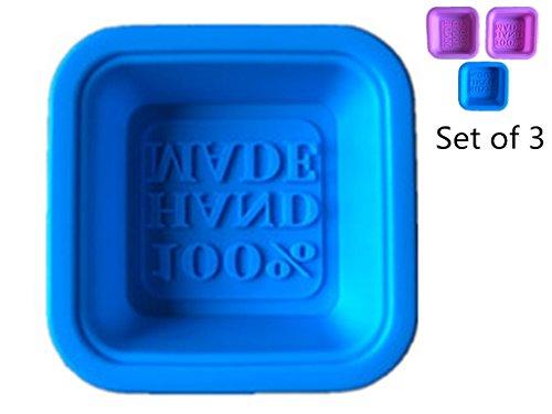 100% HAND MADE Silicone Soap Mold DIY Handmade Soaps Moulds Reusable Safe(Color Random 3PCS)