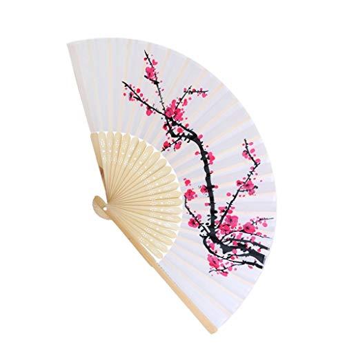 WSJTT Faltbare Ventilatoren Handventilatoren Bambusventilatoren mit Quaste Frauen Höhlte Bambus Hand Ventilatoren für Wanddekoration schwache Tinte Malerei Plum Blossom Fan