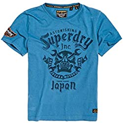 Superdry Motor Club Mid Tee Pull sans Manche, Bleu (Antique Blue U4k), Small Homme