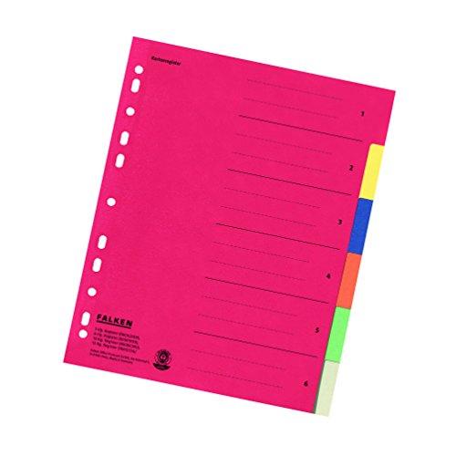 Falken Karton-Register für DIN A4 24 x 29,7 cm volle Höhe mit Organisationsdruck 6-teilig vollfarbig rot gelb blau orange grün grau Ringbuch Ordner Ring-mappe Ringbuch Hefter überbreit Blauer Engel für die ideale Ablage von Prospekthüllen