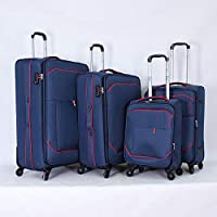 Elentra softside Spinner Luggage with 3 digit number lock set of 4 pieces, blue