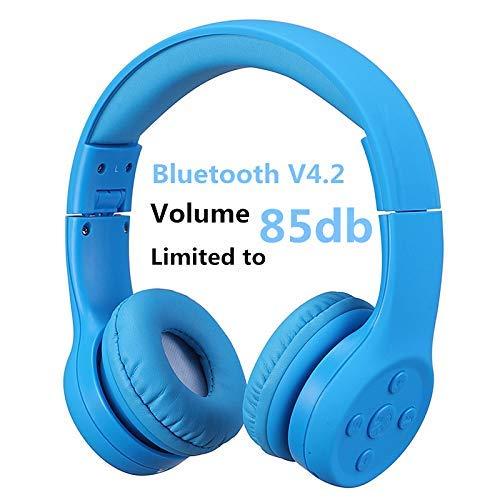 Bluetooth Kopfhörer Kinder, Hisonic Leicht kopfhörer Bluetooth Kopfhörer für Kinder mit Laustärkebegrenzung Verstellbare Leicht Tragbare kopfhörer auch Mikrofon Funktion. (Blau 01)