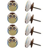 Indian-Shelf Handmade Ceramic Owl Dresser Knobs Kid Wardrobe Pulls Drawer Handles(Multicolor, 1.50 Inches)-Pack of 8