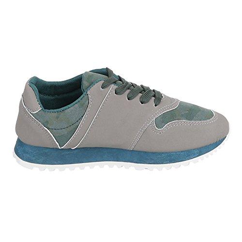 Chaussures femme, 207–1, loisirs chaussures à lacets Sneakers Vert - Grün Grau