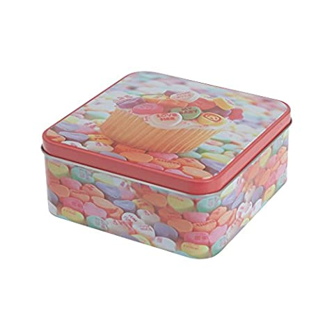 Sweets Design Square Kitchen Cake Biscuit Storage Tin Gift Box Container (Love Heart Cake)