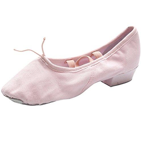 Oasap Women's Canvas Elastic Block Heels Dance Shoes Pink