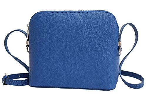 AMBRA Moda Italienische Ledertasche Damen Handtasche Umhängetasche Schultertasche Leder Tasche klein GL018 (Royalblau) -