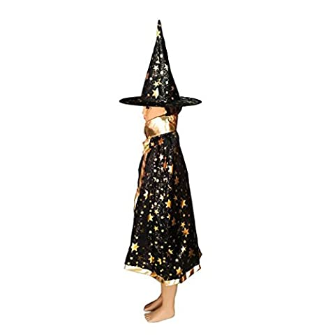 Asnlove Kinder Kostüm Zauberer Set mit Hut Design Funkelnde Sterne Schwarz (Vampire Zombie-kostüme)
