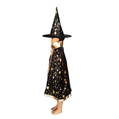 Asnlove Kinder Kostüm Zauberer Set mit Hut Design Funkelnde Sterne Schwarz (Halloween-kostüme Für Jungen Awesome)