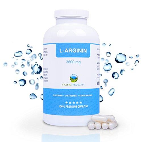 L-Arginin Kapseln Hochdosiert 360 Kapseln = 3 Monatsvorrat 3652 mg L-Arginin pro Tagesdosis Bekannt aus dem TV! Hergestellt in Deutschland