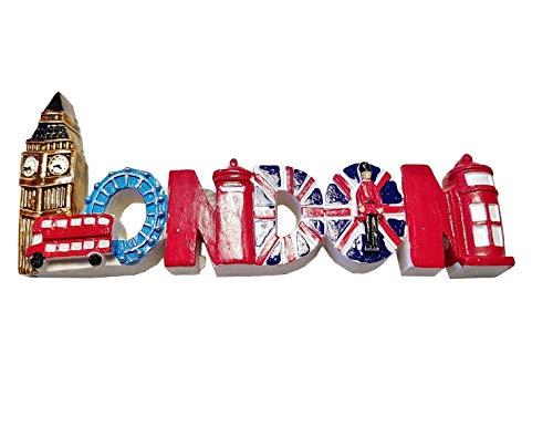 London Word et monuments Aimant de réfrigérateur - Coloré/Big Ben/œil/double Decker Bus Rouge/boîte aux lettres/Union Jack Drapeau/Royal Guard/cabine téléphonique/Angleterre Royaume-Uni souvenir