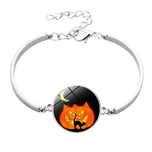 hte Halloween Kürbis Armband Zeit Edelstein Armband Silber Ton Metall Charme Freundschaft Geschenk ()