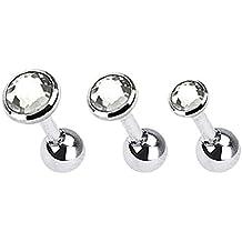 Kultpiercing - Juego de 3 piercings para helix y tragus (cristal), trans 3618-X