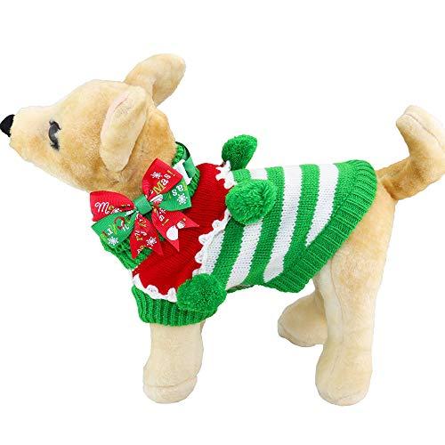 Aiwind Hundepullover mit Bällen und verstellbarem Fliege, XS, Green and White Stripes