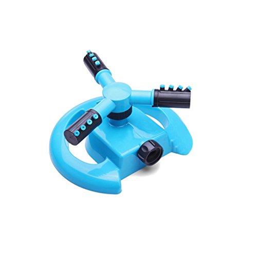 Providethebest Trois bras Arroseur 360 degrés rotation automatique d'arrosage Tête de jardin Fournitures Herbe Lawn Sprinkler bleu