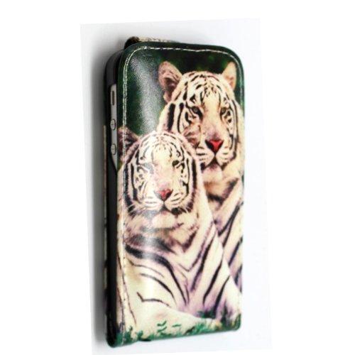 Flip Case für iPhone 5 und iPhone 5s aus PU-Leder, verschiedene Motive, gratis Eingabestift Snow Tiger Face