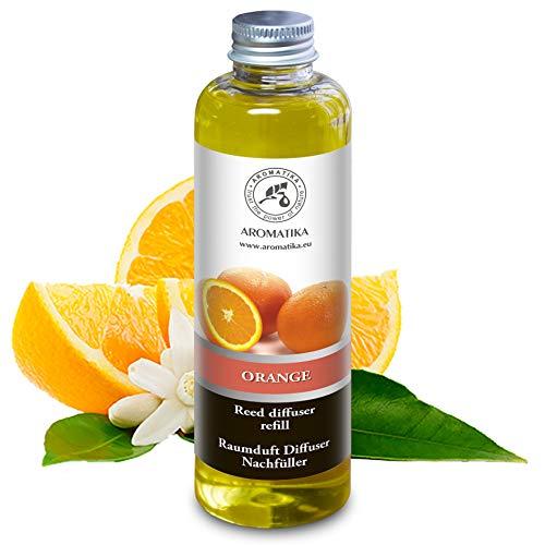 Raumduft Nachfüllflasche 200ml mit Natürlich Ätherischen Orangenöl - Beste für Aromatherapie - SPA - Haus - Bad - Büro - Fitness Club - Restaurant - Boutique - Raumduft Refill Orangenöl von Aromatika