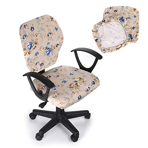 Btsky, coprisedia elasticizzato rimovibile, in stile semplice e moderno, per sedie da ufficio girevoli con braccioli (sedia non inclusa) beige