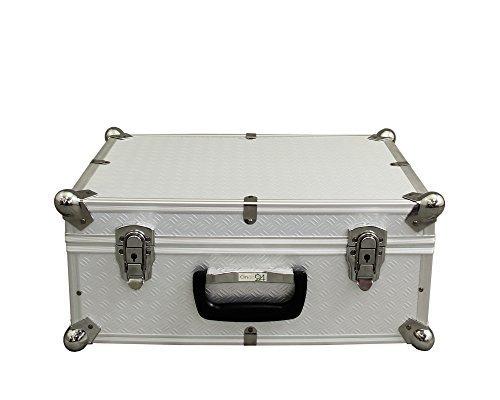 Preisvergleich Produktbild Ondis24 Aufbewahrungskoffer Lagerkoffer in Alukoffer - Optik mit Kugelecken aus Alu für extremen Eckschutz Vago S silber 20 Liter mit Innenpolsterung für empfindliche Sachen