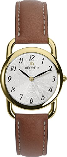 Michel Herbelin Equinox Midi Women's Quartz Watch with White Dial Analogue Display and Brown Leather Strap 17477/P28GO