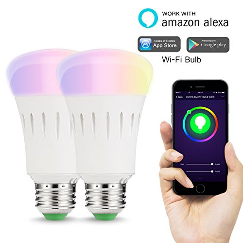 LOHAS WIFI A60 E27 Smart LED Ampoule, Peut Changer de Couleur, Fonctionne Avec Amazon Alexa, Publié un arc en Ciel de Couleurs, Pas de Connexion HUE, 9W, 60W équivalent, Contrôlé par un Smartphone, Lot de 2