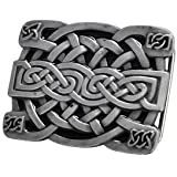 Belt Buckle Celtic Knot Mesh Irish Silver Brushed Metal Medieval