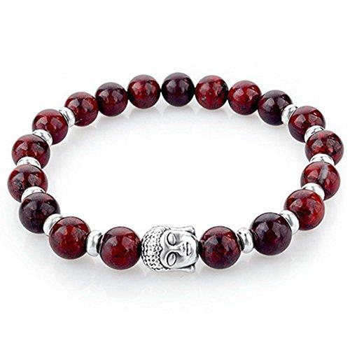 Gemini_mall Naturstein Armband 8mm Steine Charms Armband für Damen und Herren Buddha buddhistische Gebetskette Reiki Energie Heilung Steine Perlen Halskette rot (Mall Perlen Armband Frauen)