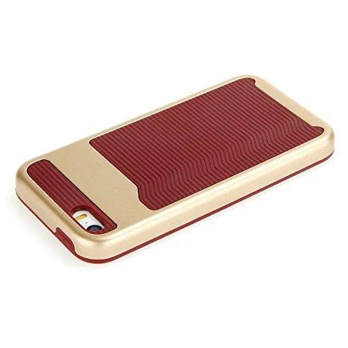 iPhone SE hülle,iPhone 5 hülle,Lantier [Anti Skid][Stoßdämpfung][harte PC+Soft Silikon][Thin Slim Fit] Wellenmuster Dual Layer Hybrid Rüstung Abdeckung für Apple iPhone 5/5S/SE Schwarz Wave Pattern Golden + Dark Red