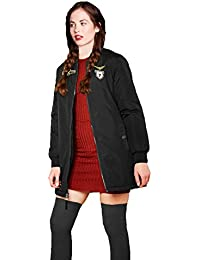 Para mujer Brave Soul westbadge funda Bomber chaqueta abrigo largo de longitud Harrington