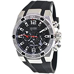 EXESS Italy Mens Wrist Watch Black Carbon Analogue Dial Stainless Steel Silver Case Black Rubber Band Japan Quartz Movement Waterproof (10ATM) Day Date and Dual Time Gift Box Elegant Fashion Sale