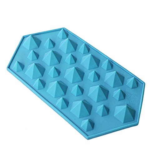 Schokolade Formen Anzahl (Winkey Diamant Form Ice Cube Tablett 27Mulden Kristall Silikon Ice Form Candy Size:approx 23(L)*12(W)*2.5(H)cm blau)