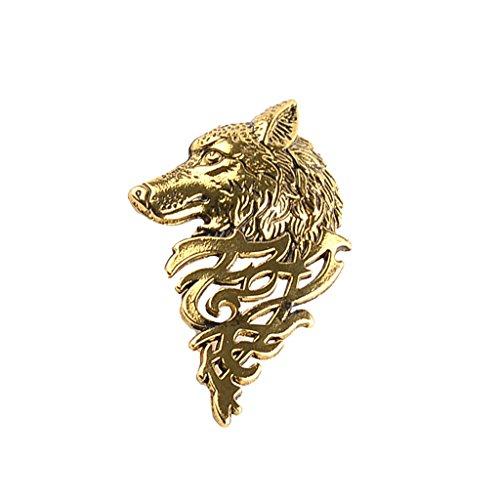Herren Schmuck, Brosche Nadel, Wolf Muster, Anzug Zubehör, Hochzeitsschmuck - Antik Gold
