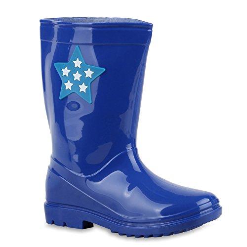 Kinder Gummistiefel Lack Sterne Boots Regenschuhe Profilsohle Wasserdicht Blau Stern