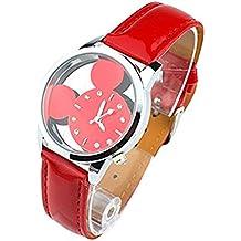 El paraíso secreto de las muchachas' Mickey Mouse relojes baratos de las mujeres lindo regalo de los niños de cuarzo de color rojo
