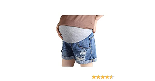 BEMIG Pantaloncini Morbidi Casual Estivi da Donna Incinta Elasticizzati con Tasche Pantaloncini di Jeans in maternit/à