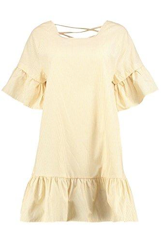 Damen Gelb Willow Etuikleid Mit Überkreuztem Rücken Und Rüschensaum Gelb