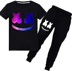 c9e43bc854965 FLYCHEN Niños Chándales Deportiva de Primavera Estilo Marshmello DJ Música  Electrónica Cool Rap Camiseta con Pantalón